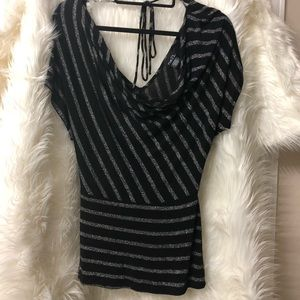 Rue21 Black and silver striped blouse